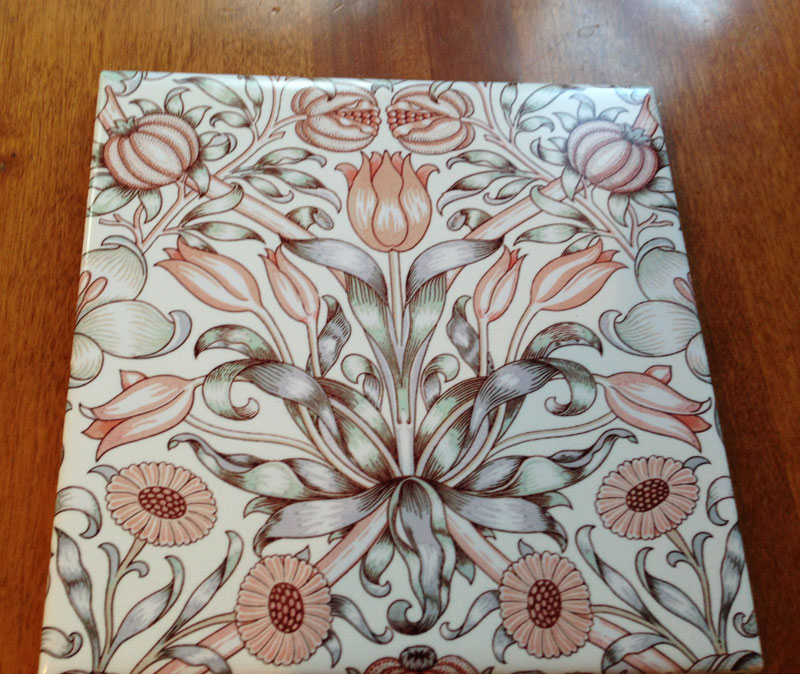 William Morris Lily and Pomegranate tile, tangerine on cream