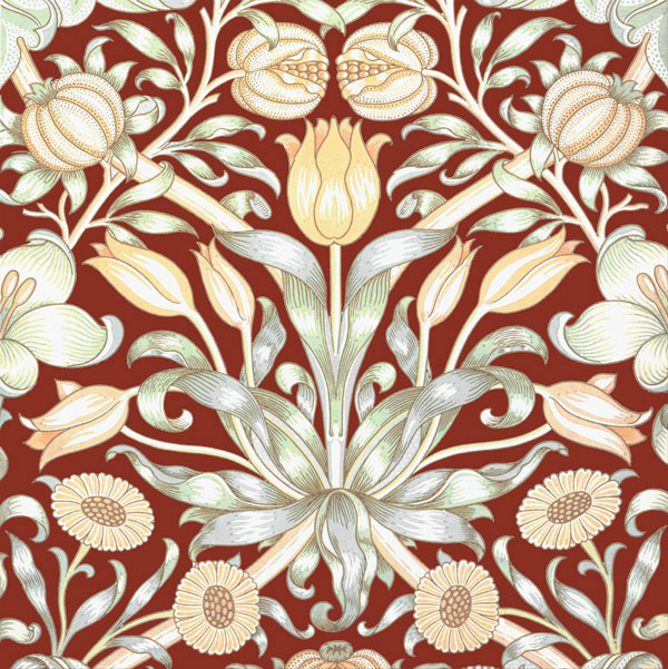 William Morris, Lily and Pomegranate tile, deep red, 1886