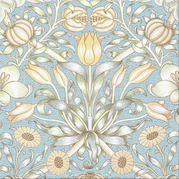 William Morris Lily and Pomegranate woodblock design with 'snow'