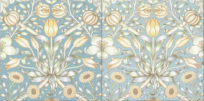 William Morris Lily and Pomegranate Tiles in Rossetti Blue, with and without snow