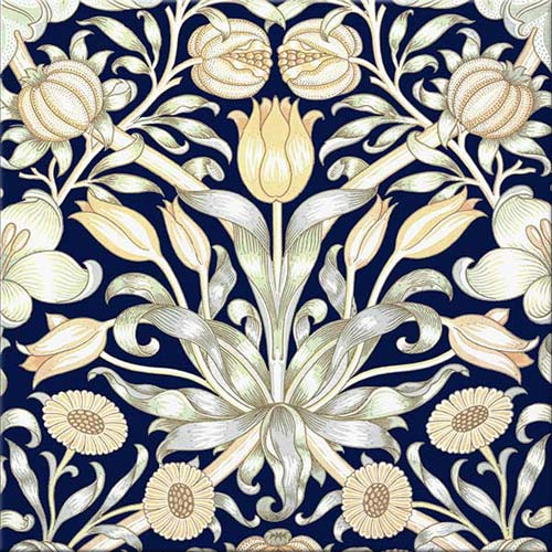 William Morris Lily and Pomegranate tile on cobalt