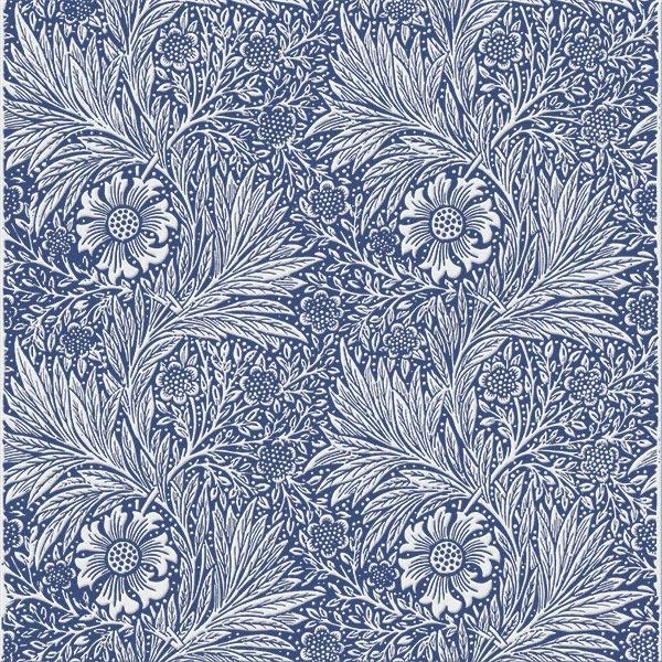 William Morris Marigold Tile, off-white on cobalt