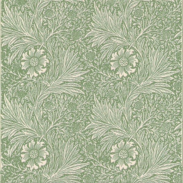 William Morris Marigold Tile, ecru on eucalyptus