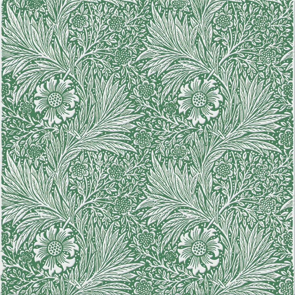 William Morris Marigold Tile, offwhite on forest green