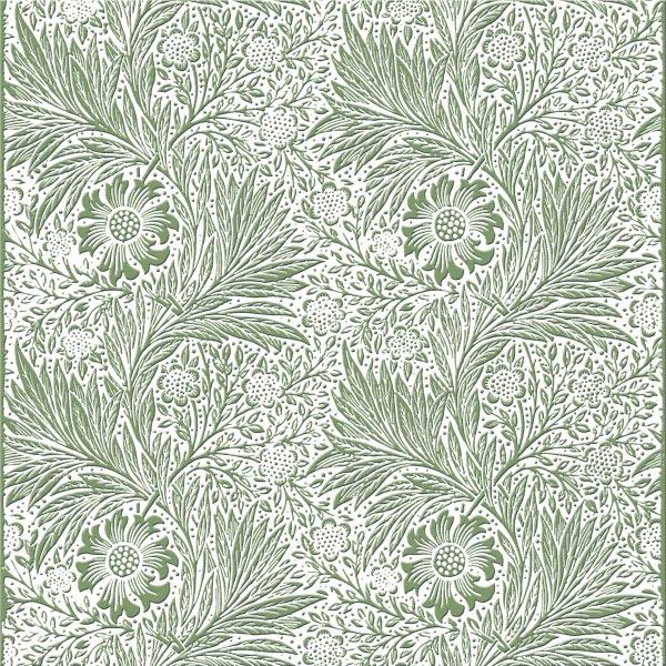 William Morris Marigold Tile, white on eucapytus