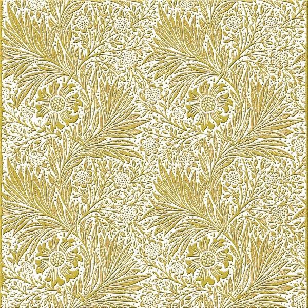 William Morris Marigold Tile, goldenrod on white