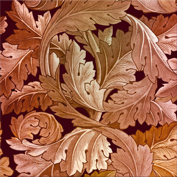 William Morris Acanthus tile in rose gold
