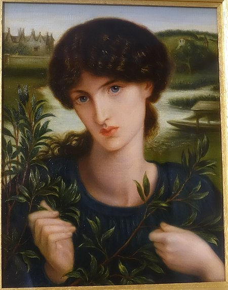 Water Willow with Kelmscott Manor in the background, by Dante Gabriel Rossetti. Jane Morris, model