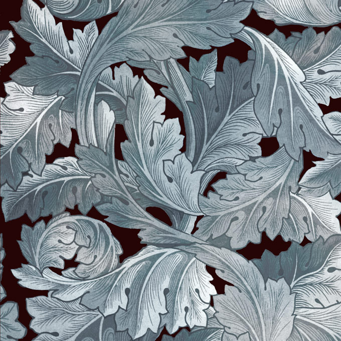 William Morris Acanthus tile in tarnished silver