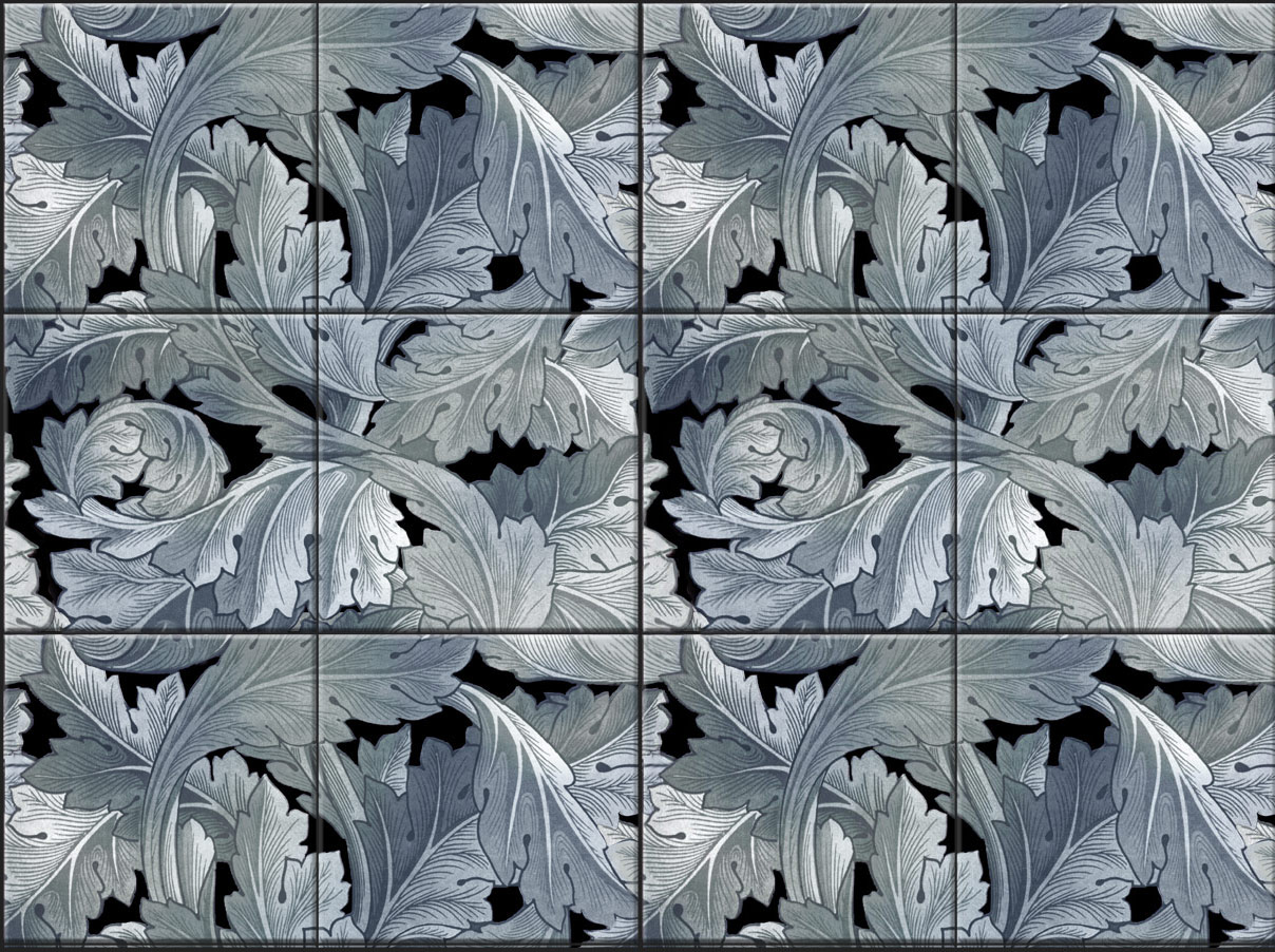William Morris Acanthus, four-tile border stacked to form a backsplash