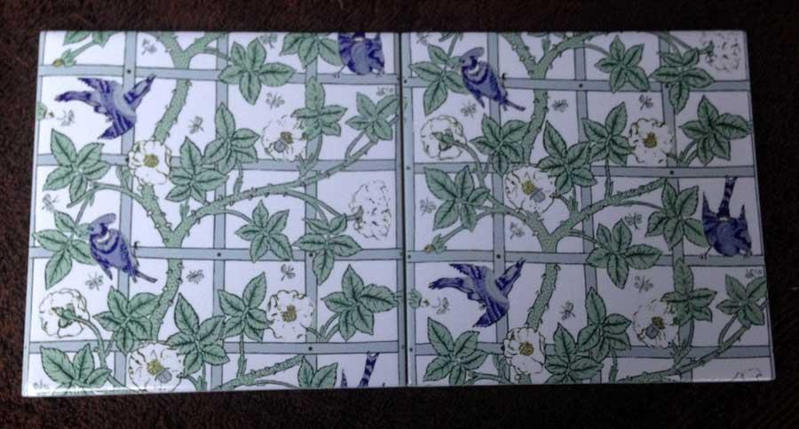Bird and Trellis tiles, white flowers on white background