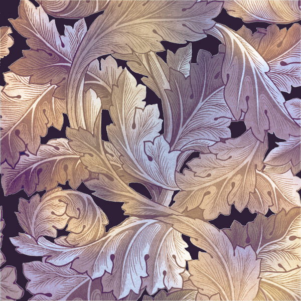 William Morris Acanthus tile in Victorian amethyst