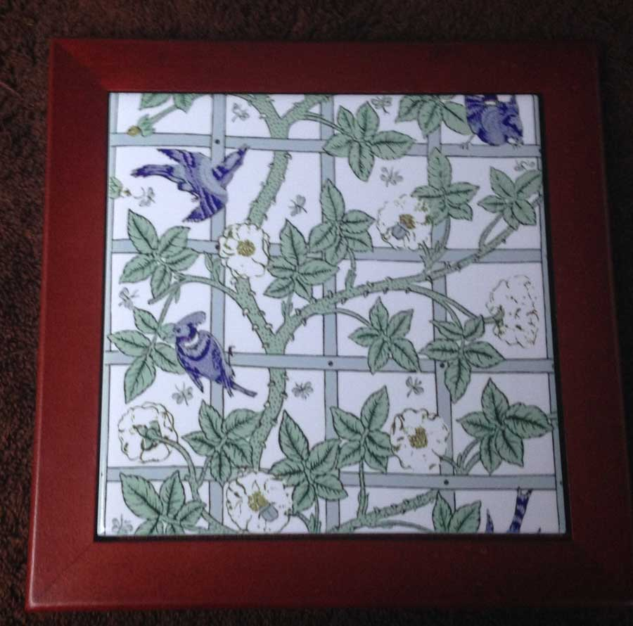 White Bird and Trellis Tile, framed