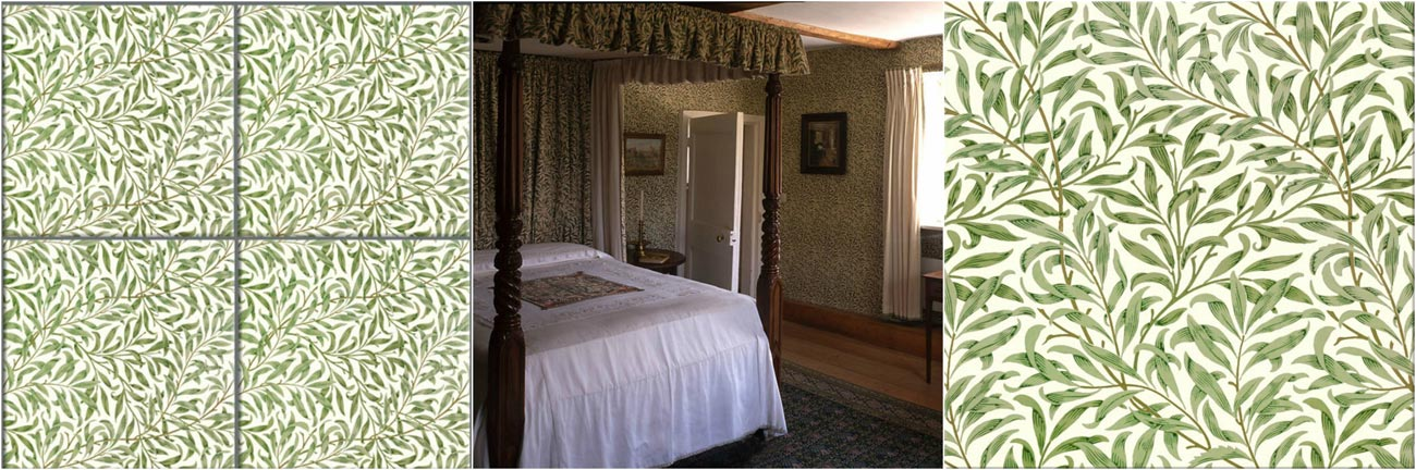 William Morris willow wallpaper, Jane Morris bedroom at Kelmscott manor