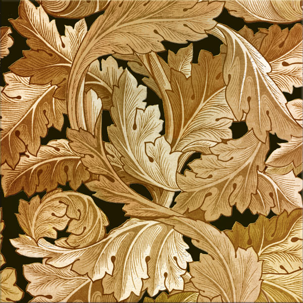 William Morris Acanthus tile in yellow gold