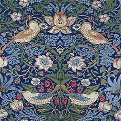William Morris Strawberry Thief Tile, Blue Background, 6 inch