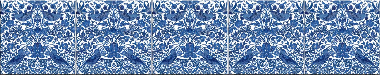Blue and White Strawberry Thief border