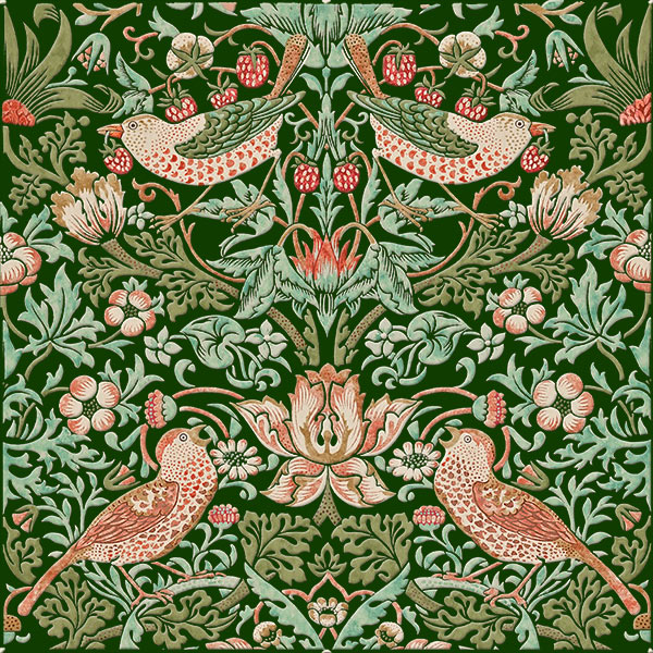 Strawberry thief tile, Goose colorway