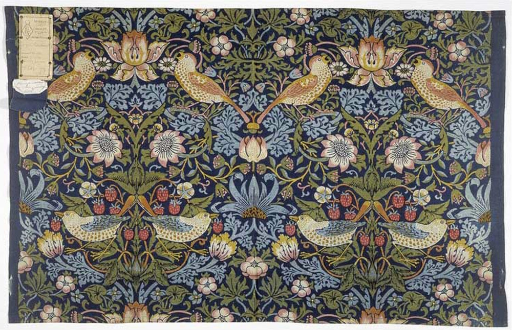 William Morris Strawberry Thief fabric from swatchbook