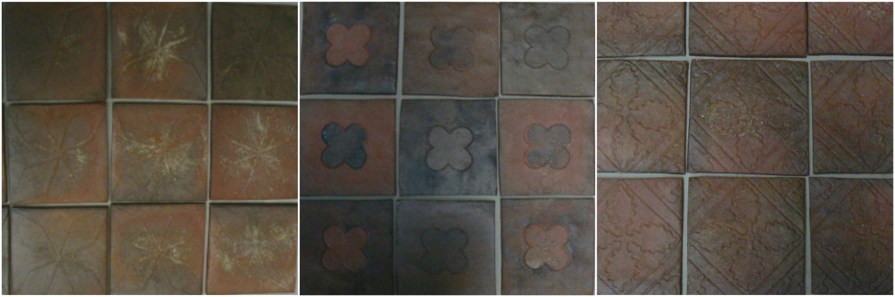 Medieval diamonds field tiles (Saxon tiles, York, UK), Chappelle de Saint Cucaphas Quatrefoils, Medieval Oak leaf tiles from Acton Burnell parish -- tiles from Inglenook tile design