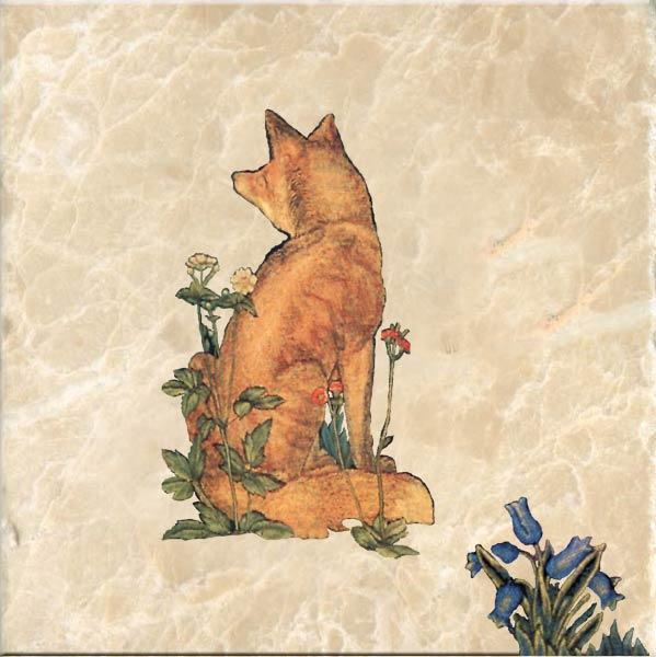 Fox tile, based on William Morris 'The Forest' tapestry