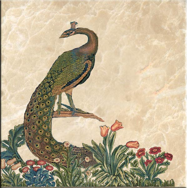 Peacock tile, William Morris 'The Forest'