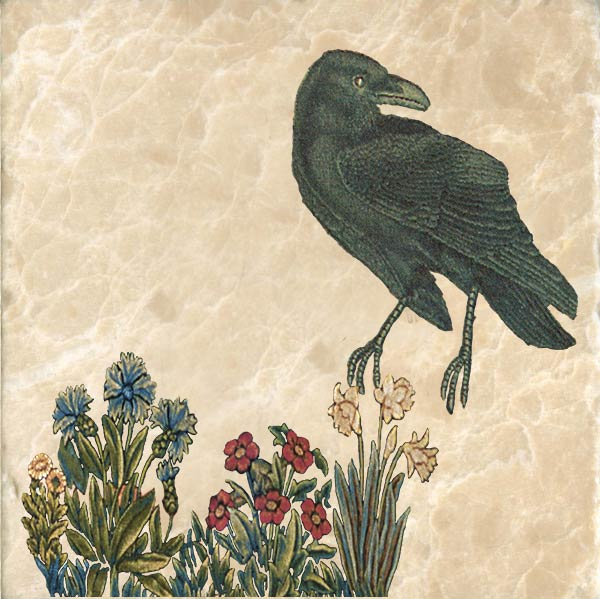 Raven tile, based on William Morris 'The Forest' tapestry