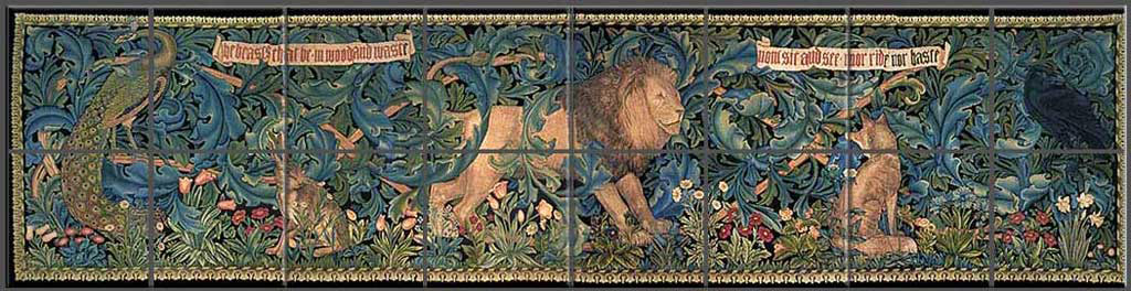 Forest tapestry two-row backsplash, design by William Morris