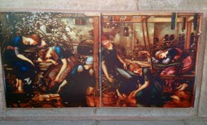 Burne-Jones Briar Rose story tiles, The Sleeping Princess, installation in guest house