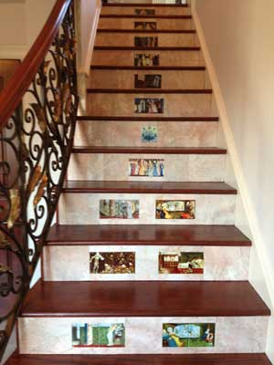 Morris and Co. fairy tale tiles inset in marble stair risers