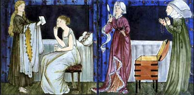 Cinderella tile panel: Cinderella and her stepsisters