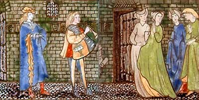 Cinderella tile panel: The prince searches for the owner of the glass slipper.