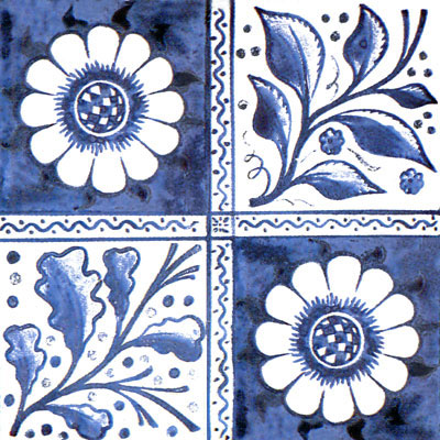 William Morris early blue longden tile