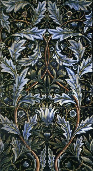 One of six surviving Membland tile panels designed by William Morris and William DeMorgan, 		produced by Morris and Co.  Broken tiles from this panel have been replaced so that neither the 		colors nor pattern match exactly. The panels consist of 66 six-inch tiles for a bathroom at Membland Hall