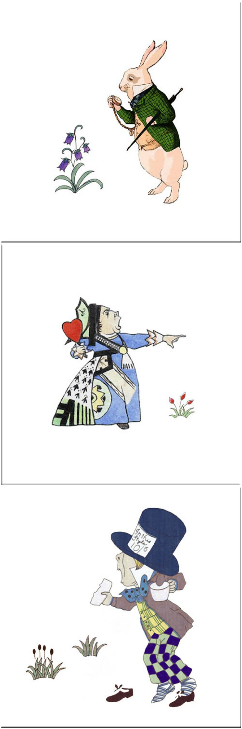 CFA Voysey Alice in Wonderland Tiles: Rabbit is late, Off with Her Head, Mad Hatter