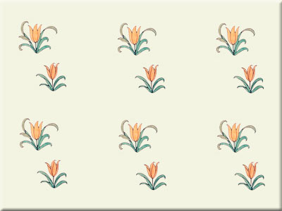 CFA Voysey Alice in Wonderland tulip field tile
