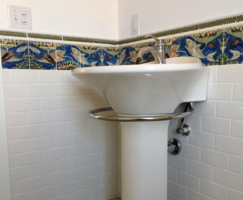 William De Morgan Victorian bath tiles