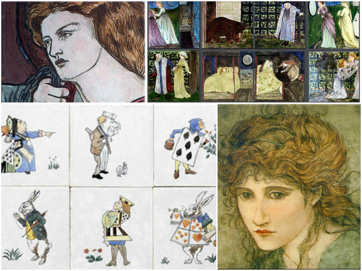 From top left: Bottom left: Unknown saint tile, one of at least nine, painted by Dante Gabriel Rossetti before 1863;  Edward Burne-Jones Beauty and the Beast fairy tale tiles for Morris, Marshall, Faulkner and Co.; CFA Voysey Alice in Wonderland tiles for Minton; Glasgow School tile painted by Hannah Moore Walton in the style of Edward Burne-Jones.
