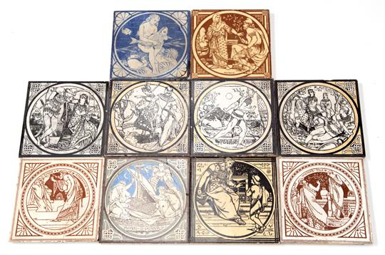 Minton printed tiles from The Old Testament, Shakespeare, and the Morte D'Arthur