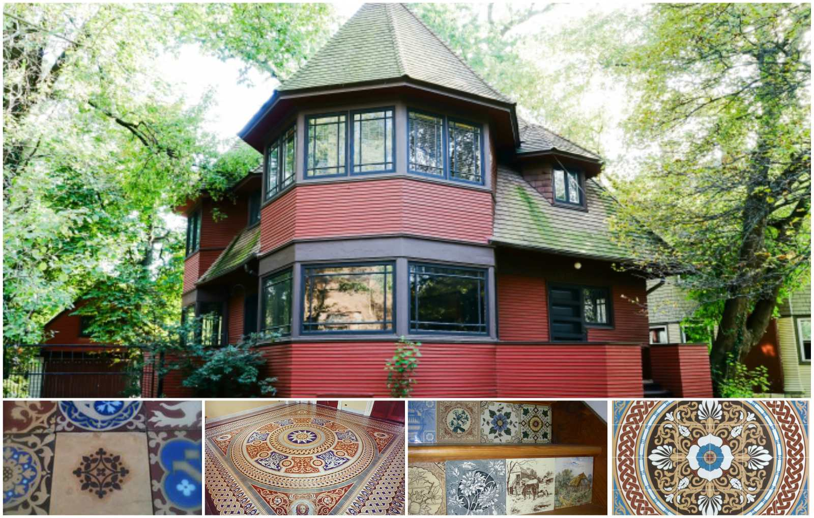 Top: Frank Lloyd Wright Robert P. Parker house (1892).  Bottom, Victorian Floor Tiles: Minton Westminster tiles; Minton tiles, restored inlay, for U.S. Capital; Minton tile designs reproduced for stair risers; Rubble Tile 'Palmerston' screenprinted floor tiles