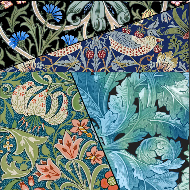 Lewis Carroll 64=65 math puzzle with William Morris patterns