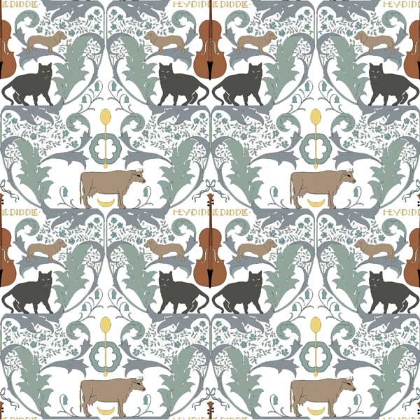 CFA Voysey nursery tile: Hey Diddle Diddle