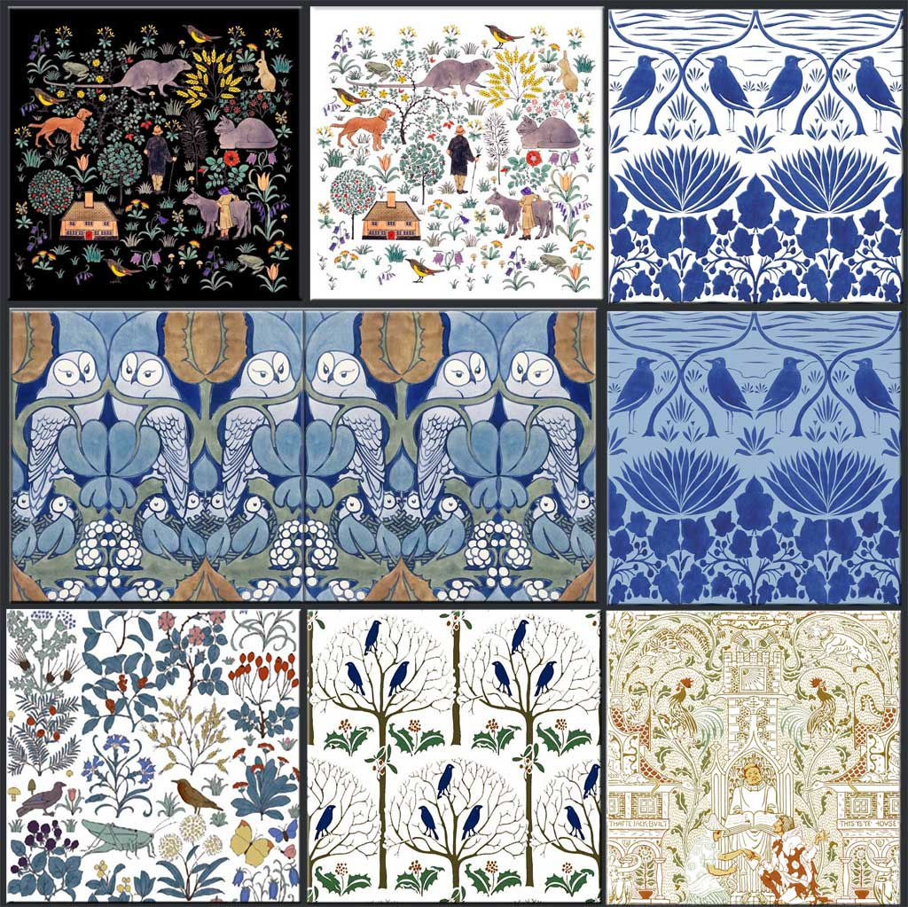 Sample Arts & Crafts and Victorian Nursery Tiles.  From top left: CFA Voysey House that Jack Built, Voysey Bluebirds, CFA Voysey Owls (Hoot), Apothecary's Garden, Rook and Holly, Walter Crane House that Jack Built