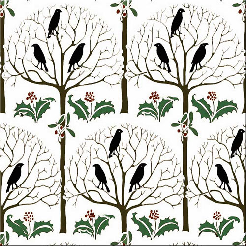 CFA Voysey Rook and Holly nursery tile