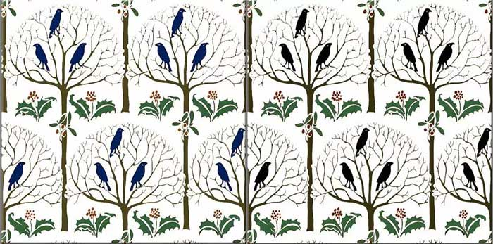 Adapted from CFA Voysey, Rook and Holly black (right) and blue bird (left) variations. Rook and Holly was the pattern CFA Voysey selected for his own children's nursery.